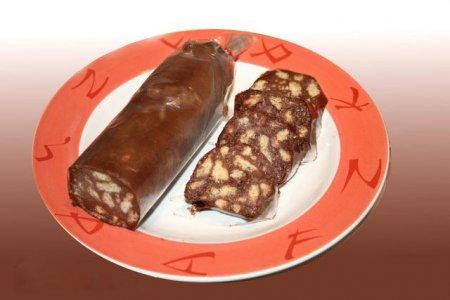 Шоколадная колбаса из печенья без яйца пошаговый рецепт