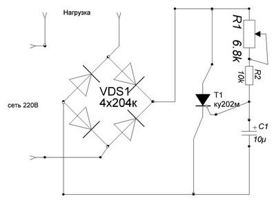 Схема тиристорного регулятора мощности паяльника
