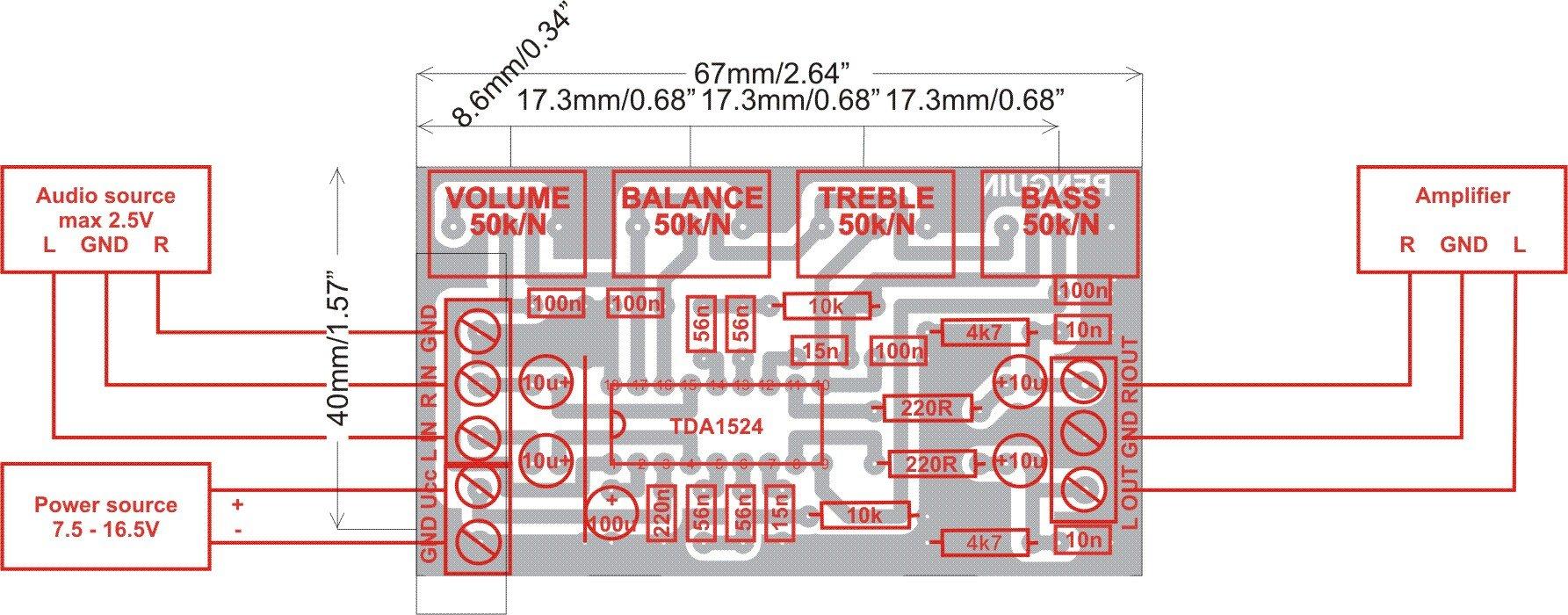 регулятор баланса звука схема