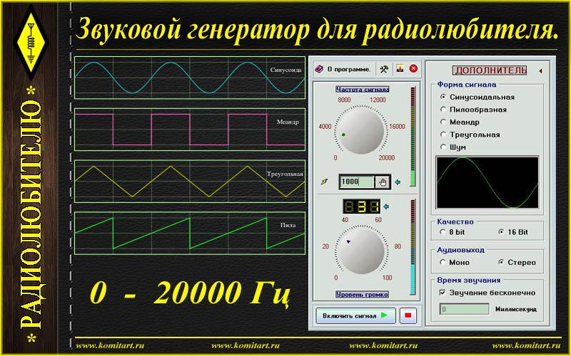 Скачать программу генератор звуковой частоты