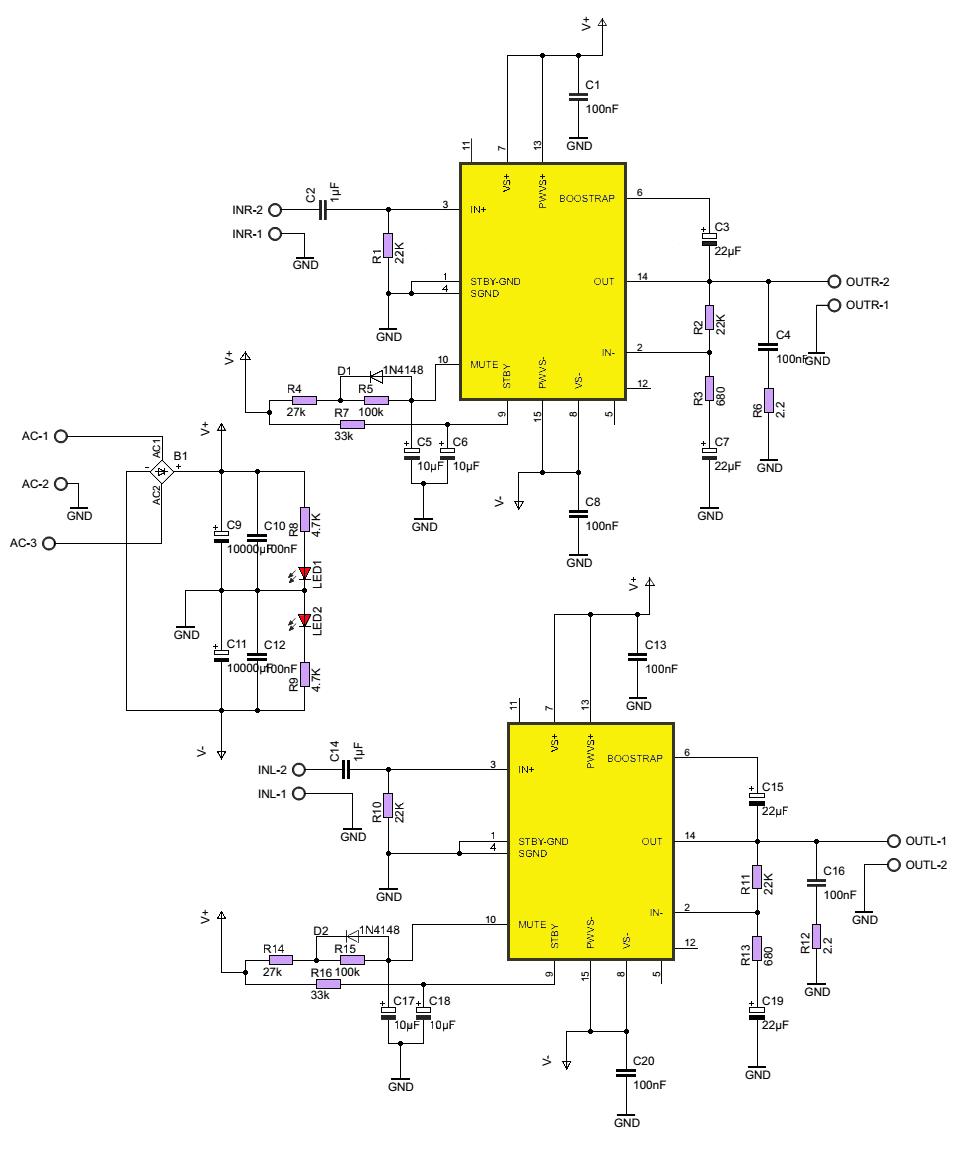 Tda7294 мостовая схема lay