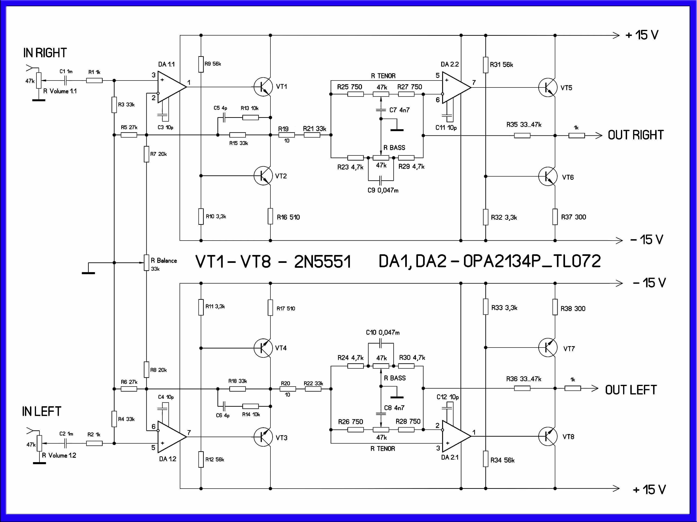 схема предварительного усилителя на микросхемах