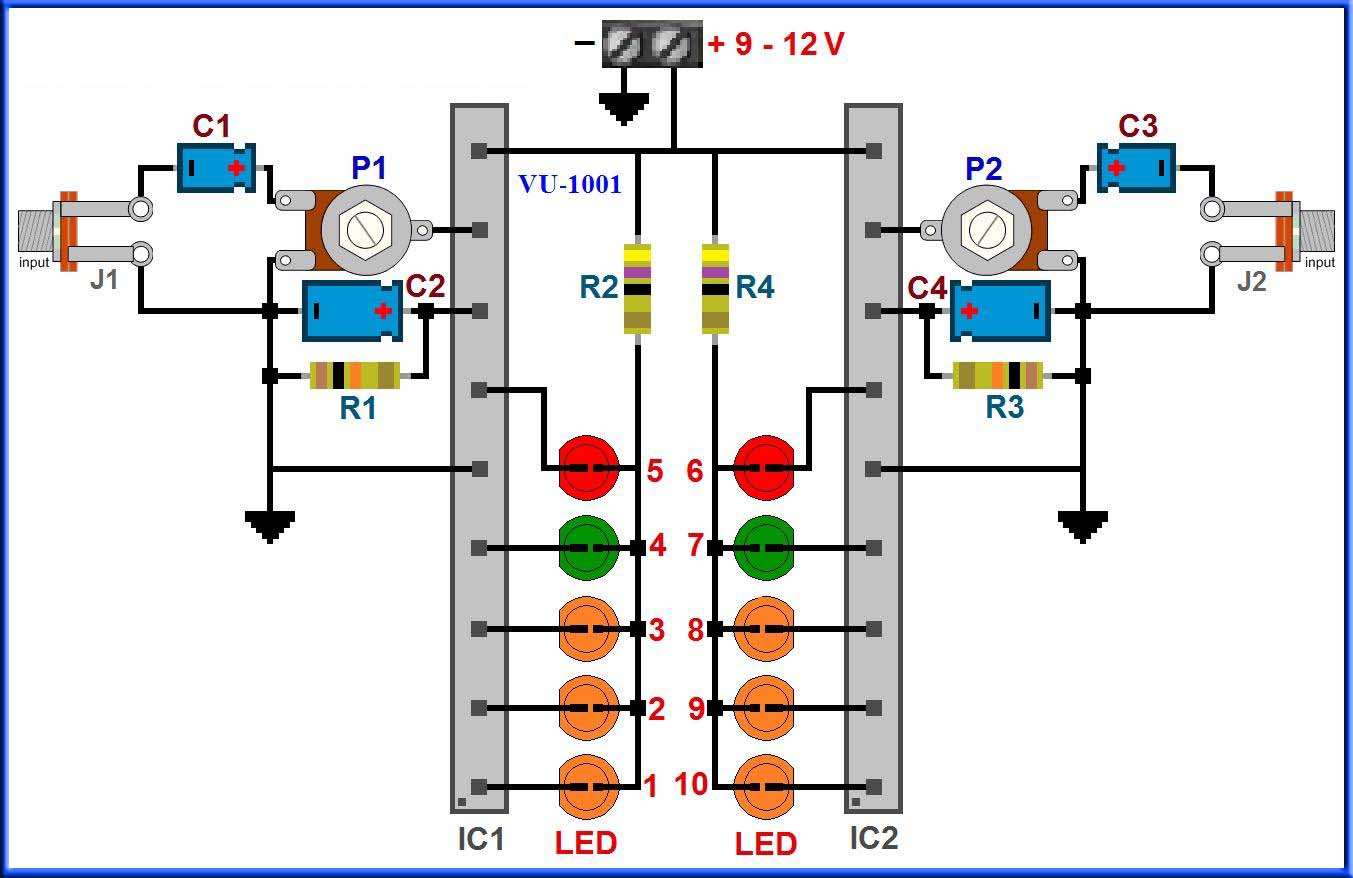 схема линейный светодиодный индикатор