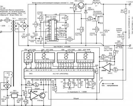 ЗУ с цифровым вольтметром и амперметром.