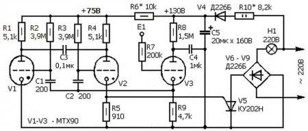схема сенсорного выключателя освещения