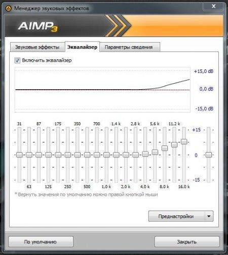 Эквалайзер проигрывателя AIMP 3