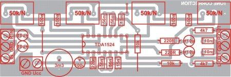 Регулятор громкости, баланса и тембра на TDA1524A.