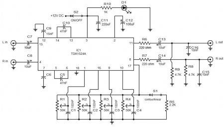 Принципиальная схема темброблока на TDA1524A