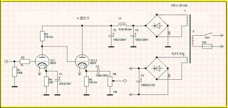 Схема универсального предварительного усилителя  на двух лампах  6Н1П