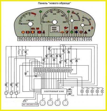 Схема панели приборов ВАЗ 2110-12   (Лада Калина, Приора)