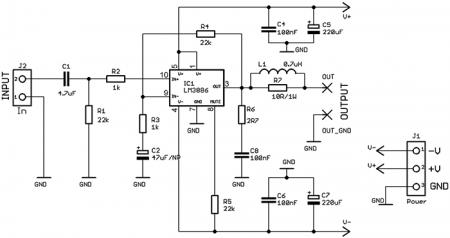 Схема усилителя на LM3886