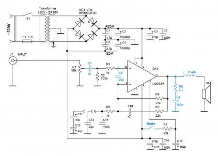Принципиальная схема усилителя на LM3886 ver.2