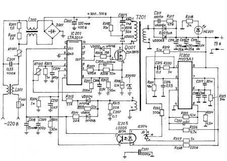 принципиальная схема блока питания China Hp 19V 3.16А