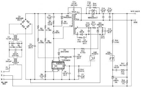 Принципиальная схема БП LITEON 19V 3.42A
