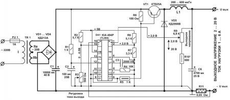 Схема зарядного устройства для втомобильных аккумуляторов на TL494