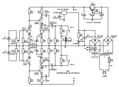 Усилитель для наушников на  6Н3П и 6Н24П_схема