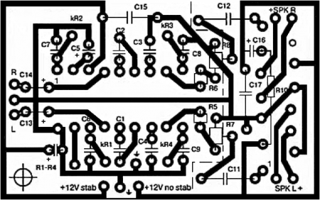 Печатная плата усилителя с темброблоком на TDA1552Q