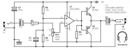 OPA134PA-усилитель для наушников 1