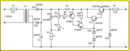Схема простого зарядного устройства для автомобильных аккумуляторов