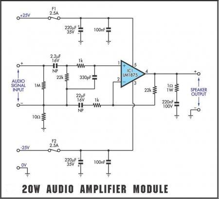 Схема усилителя на LM1875