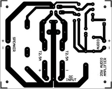 Печатная плата  усилителя на LM1875 _ 1 канал