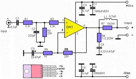 Принципиальная схема усилителя на tda2050