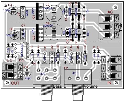 Расположение элементов на плате НЧ-фильтра на NE5532 _ 1