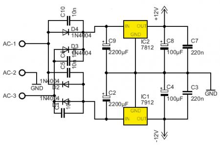 Схема блока питания НЧ фильтра на NE5532