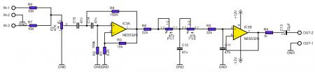 Схема НЧ фильтра на NE5532