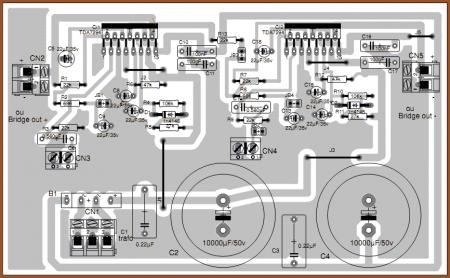 Вид на плату усилителя TDA7294 со стороны элементов