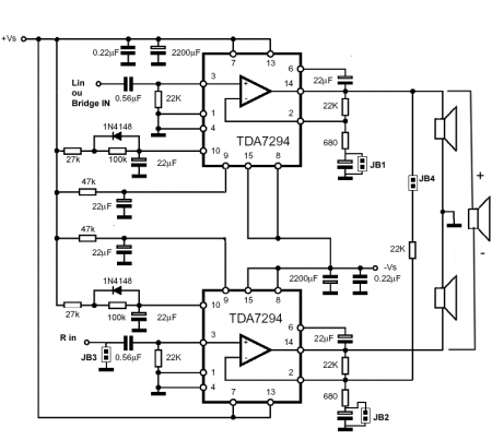 Схема усилителя на TDA7294