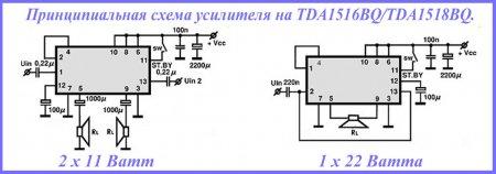 Схемы усилителя на МС TDA1516BQ
