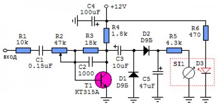 Принципиальная схема аналогового индикатора уровня сигнала для звуковой карты компьютера