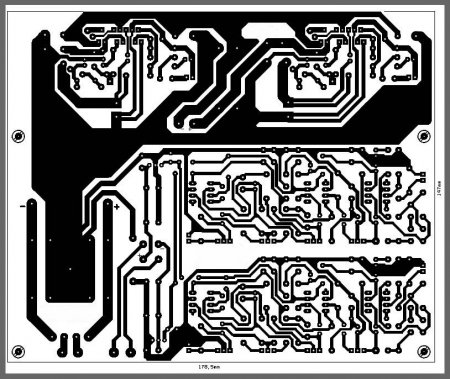 Вид печатной платы усилителя со стороны проводников