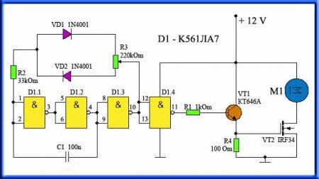 Принципиальная схема регулятора оборотов ручной мини-дрели
