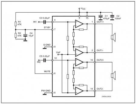 Типовая схема включения TDA7297