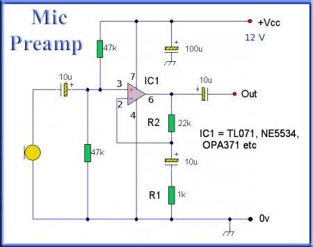 Принципиальная схема микрофонного предусилителя на TL071