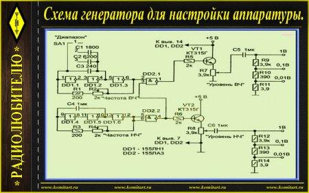 Схема генератора для настройки аппаратуры