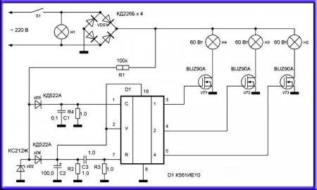Принципиальная схема блока управления люстрой на 4 лампы