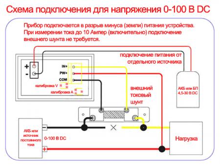 Подключение прибора WR005
