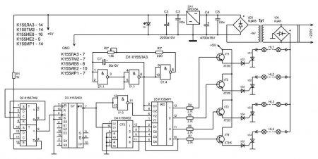 Принципиальная схема автомата световых эффектов