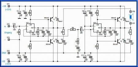 Принципиальная схема УНЧ 150w-tda2030