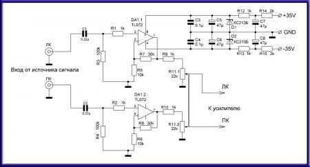 Нормирующий предусилитель на TL072_принципиальная схема