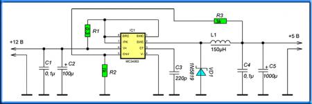 Схема адаптера для заряда телефона от бортовой сети авто
