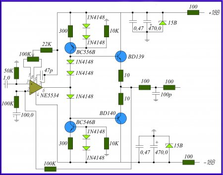Схема предварительного усилителя на NE5534