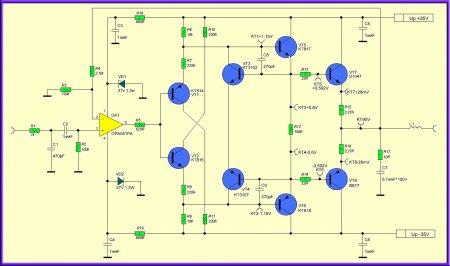 Принципиальная схема усилителя на OPA551PA
