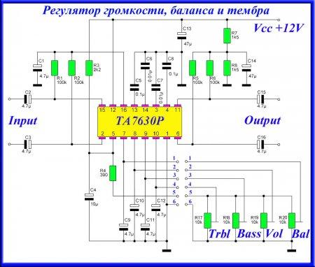 Принципиальная схема регулятора громкости и тембра на TA7630P