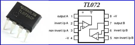 Расположение выводов микросхемы TL072