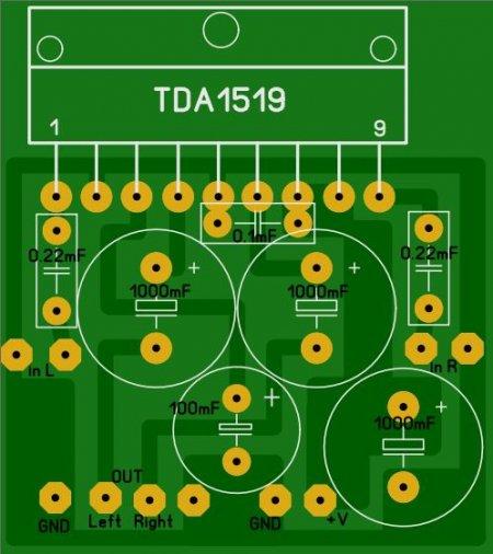 Печатная плата усилителя на TDA1519 LAY_фото-вид