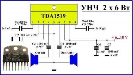Схема усилителя на TDA1519